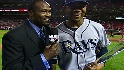 Harold chats with Carl Crawford