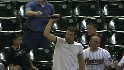 Fan catches Balentien's bat
