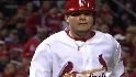 LAD@STL Gm 3: Furcal's throw gets Molina at third