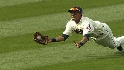 Brantley ends the inning on a great catch