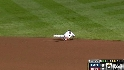 Pedroia catches a hard grounder