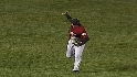 Bourn makes catch, waves at fans