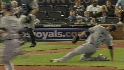 Garza slips on grounder