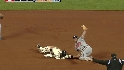 Posey is called safe at second