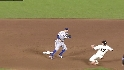 Kinsler catches Huff stealing