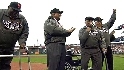 Giants greats&#039; first pitch