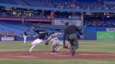 Bautista steals home on a double steal