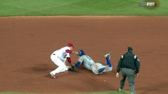 Kinsler beats the tag to steal 2nd