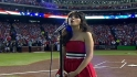Deschanel sings national anthem