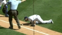 Hairston tries to blow ball foul