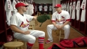 Skip Schumaker demonstrates his knowledge of various types of gloves.