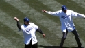 Newcombe, Davis toss first pitch