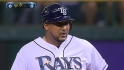 Jose Molina doubles to left field