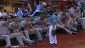 Livan goofs with ball boy
