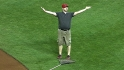 Grounds crew member does &#034;YMCA&#034;