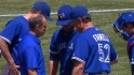 Drabek injured, leaves game