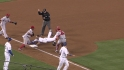Aybar's throw saves a run