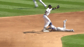 Encarnacion takes 2nd on a steal
