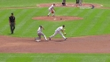 Hicks' first career stolen base