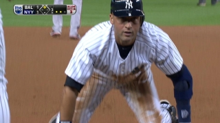 Jeter drives in a run with a triple