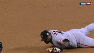 Sandoval makes a diving stop