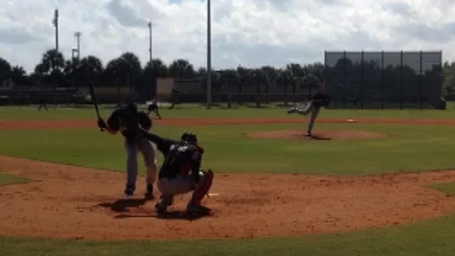 Stanton struck on helmet by pitch in simulated game