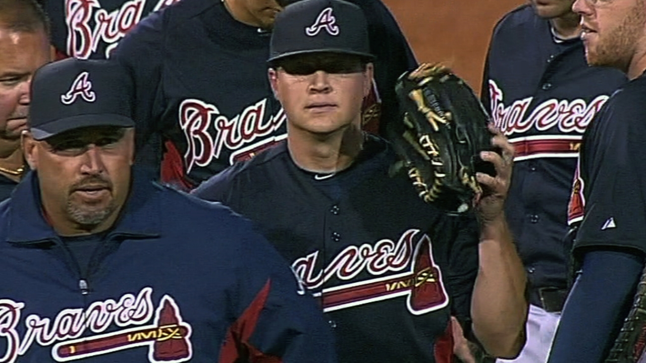 Medlen fine after getting hit by batted ball