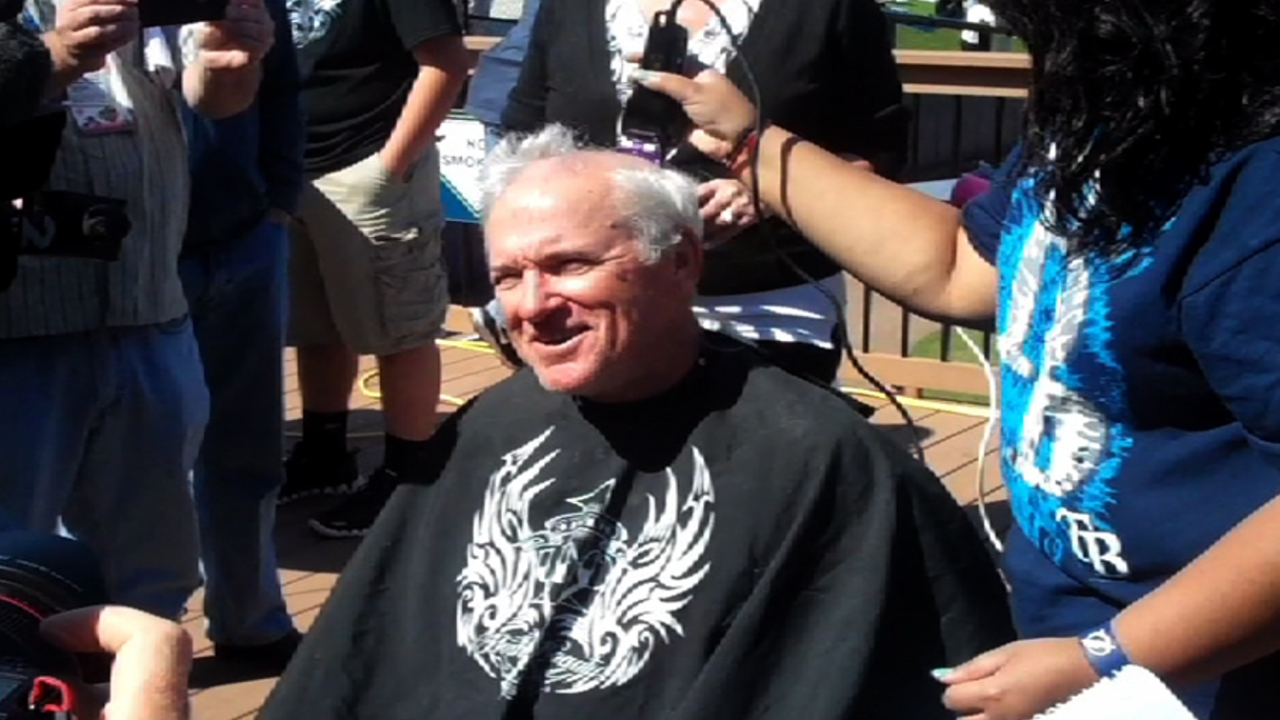 Rays shave heads for Pediatric Cancer Foundation