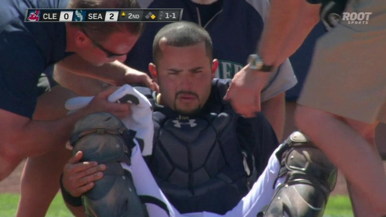 Montero OK after taking bat to head behind plate