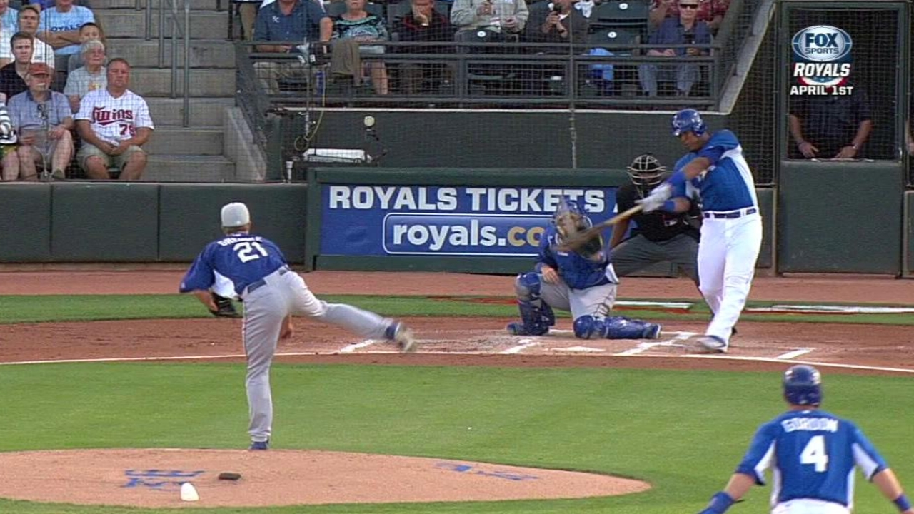 Perez OK after foul tip off catcher's helmet