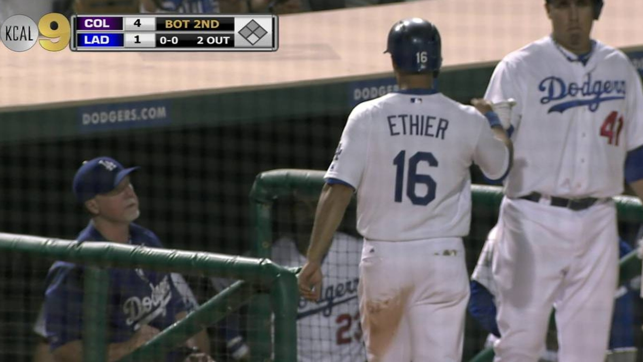 Ethier exits early with 'little soreness' in hamstring