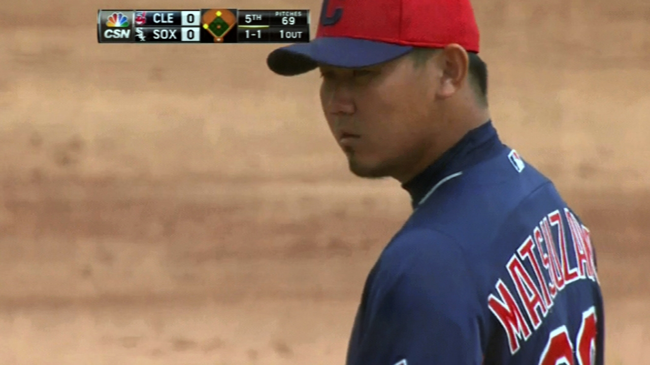Matsuzaka works into sixth; Indians lose in ninth