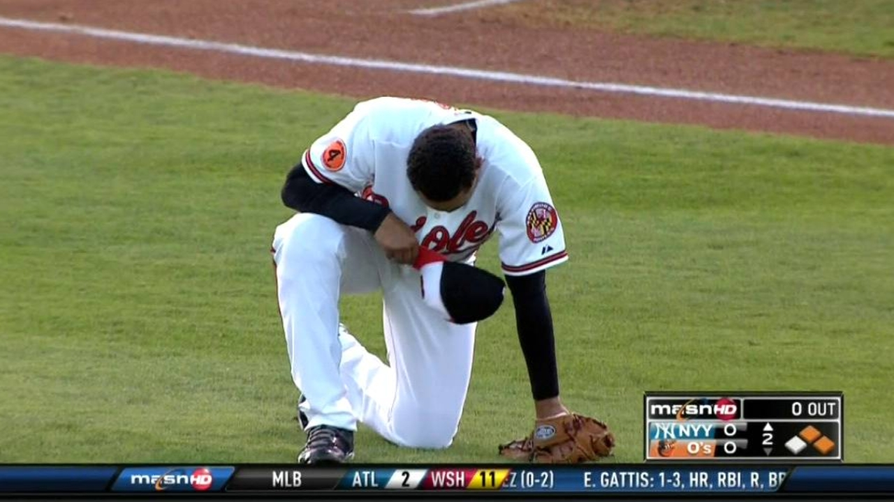 Jurrjens exits early after getting hit by comebacker