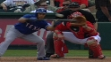 TEX@LAA: Garcia drops bunt single, steals second base