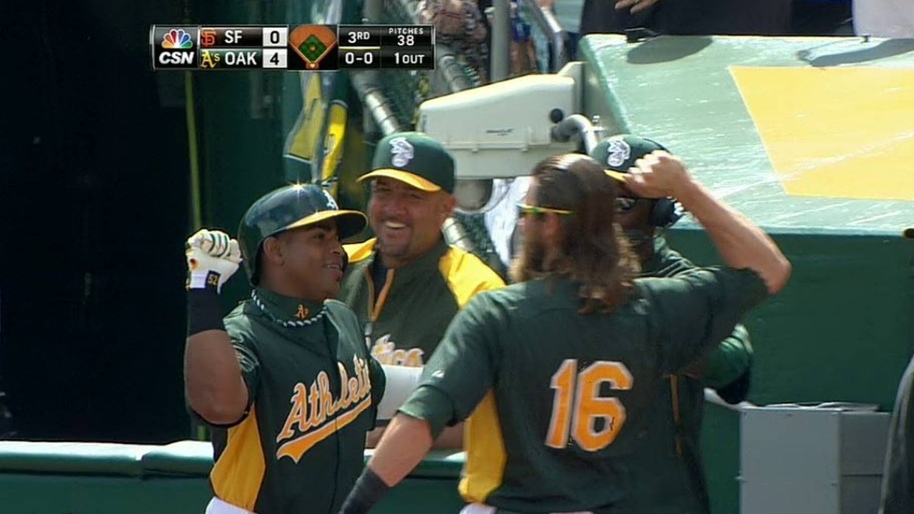 Cespedes launches homer in A's spring finale