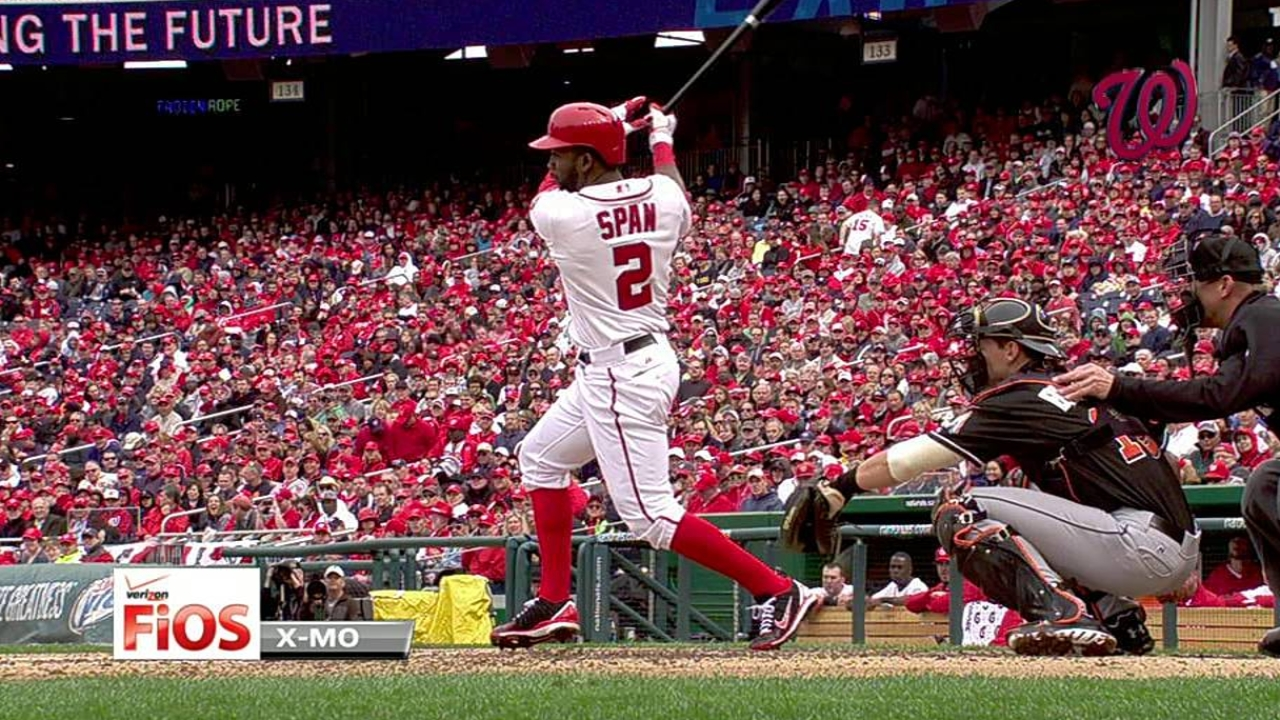 Span debuts in center, collects first Nats hit