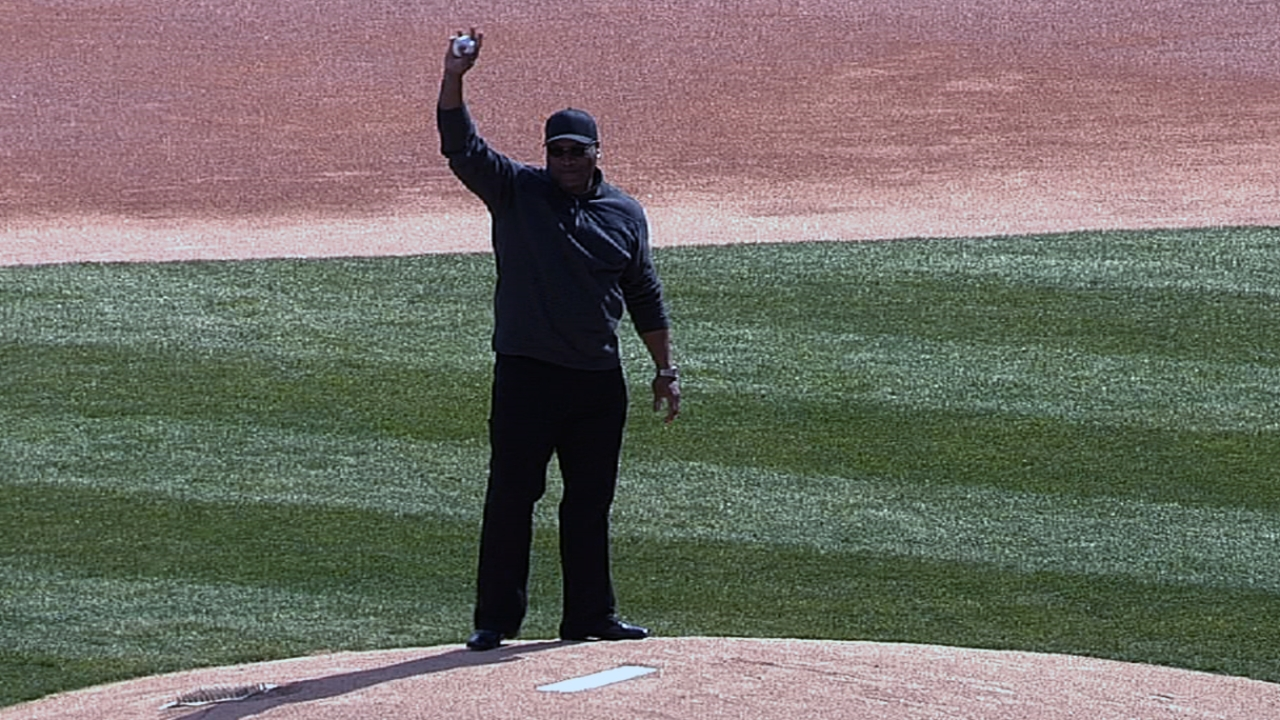 Jackson throws first pitch in front of former teams
