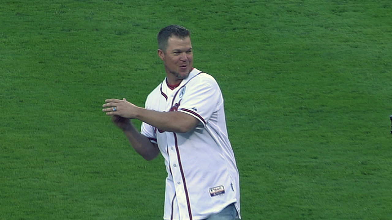 Chipper throws out first pitch for Braves' opener