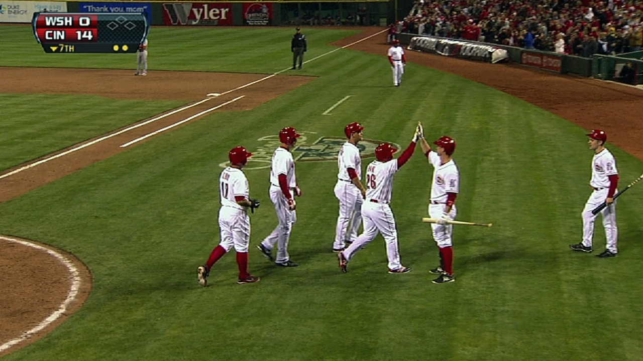 Cozart, Frazier each drill two homers to down Nats