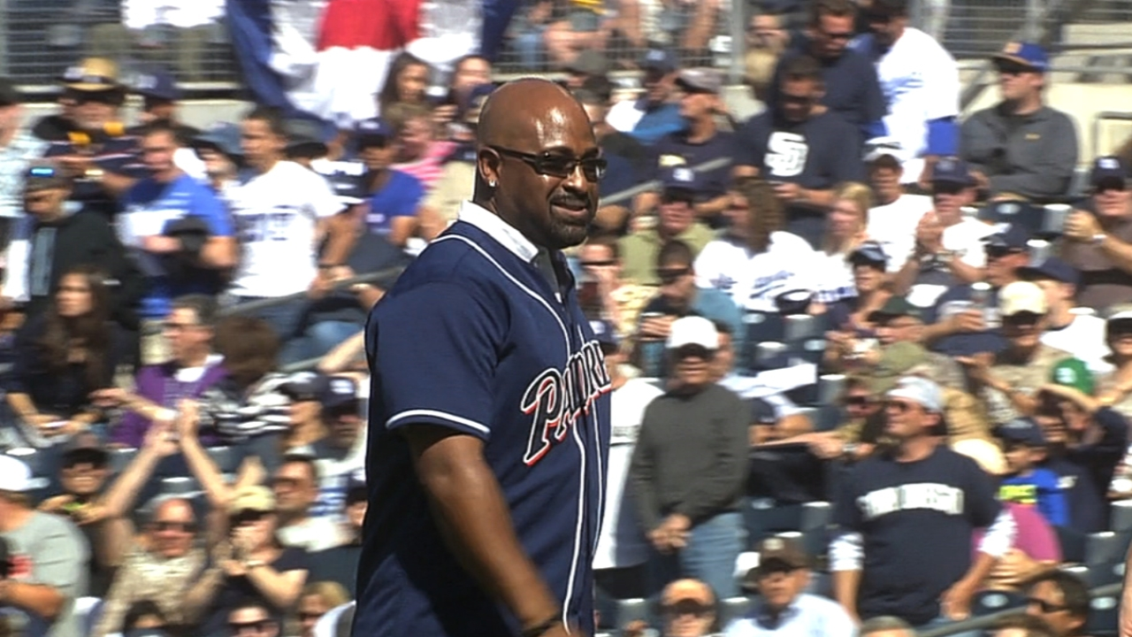 Vaughn tosses Padres first pitch