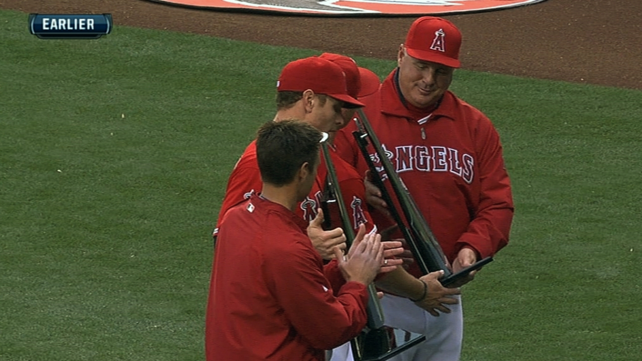 Trout, Hamilton receive hardware before game
