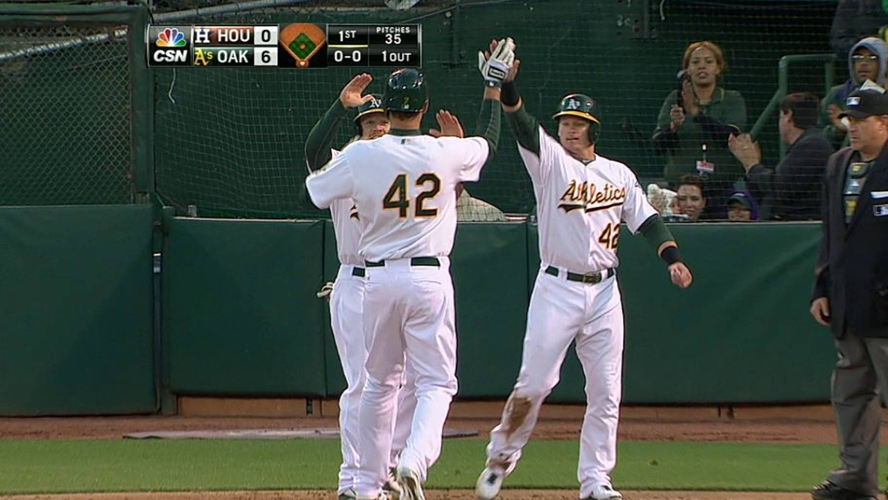 Freiman's first career homer helps power A's