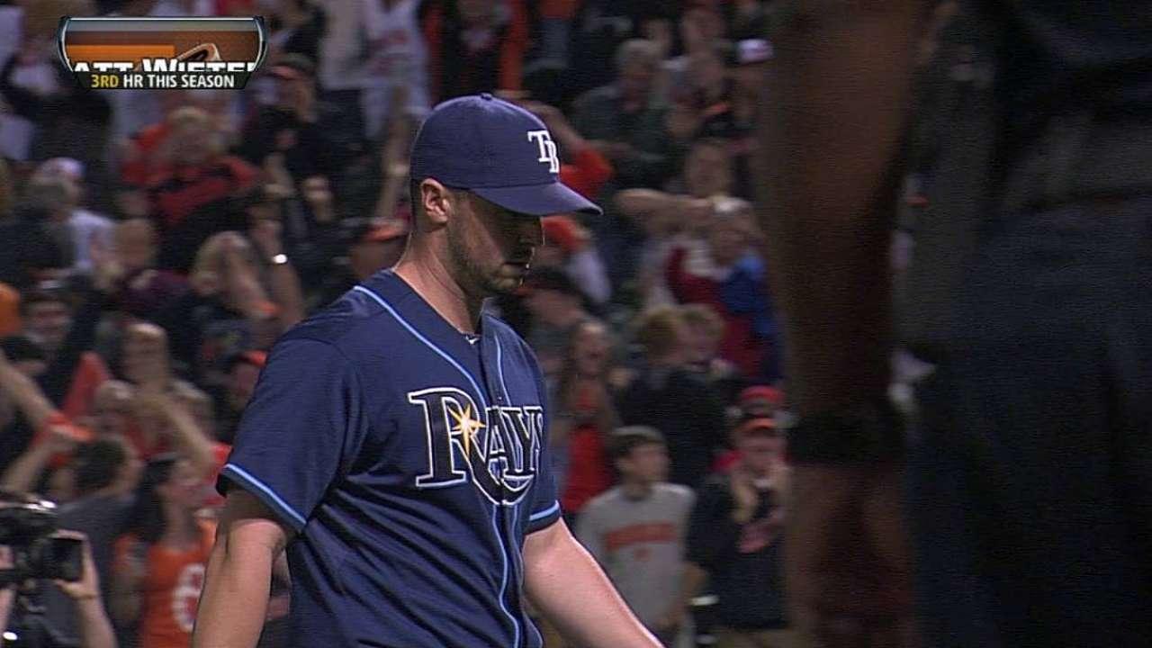 Rays fall on Wieters' walk-off slam