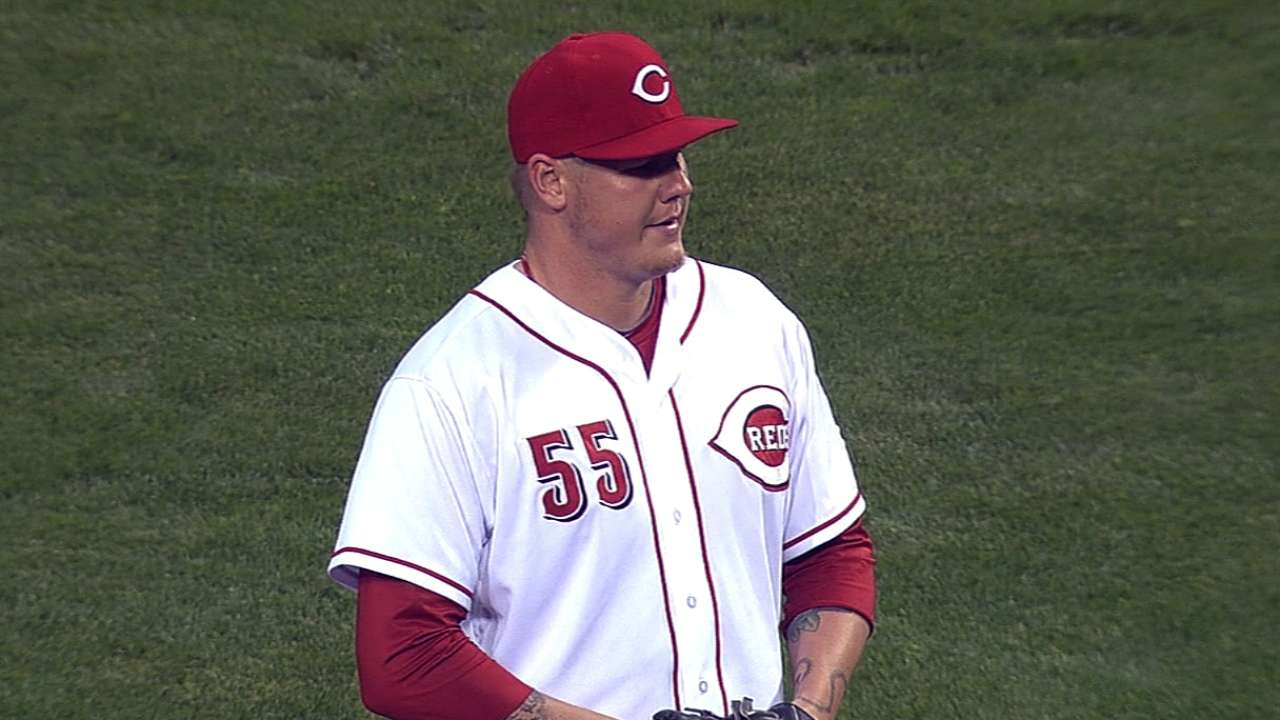 Latos goes from pitcher to spectator
