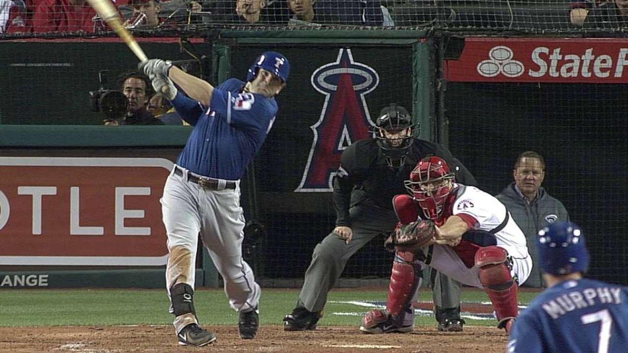 Trout gets taste of Big A's metal left-field wall
