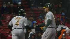 A's overwhelm Red Sox with downpour of runs