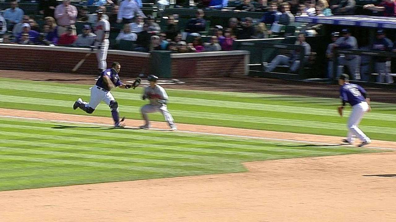 Rosario improving defensively for Rockies