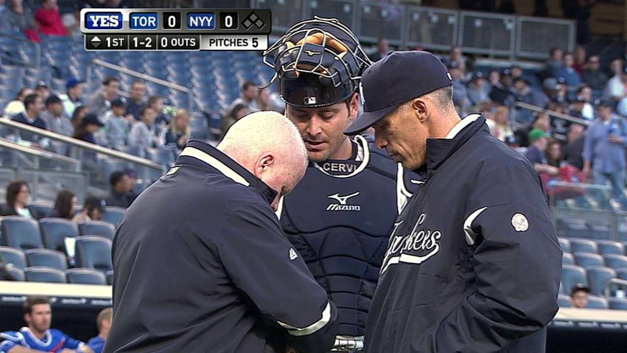 Yanks' battery drained after Cervelli, Nova hurt
