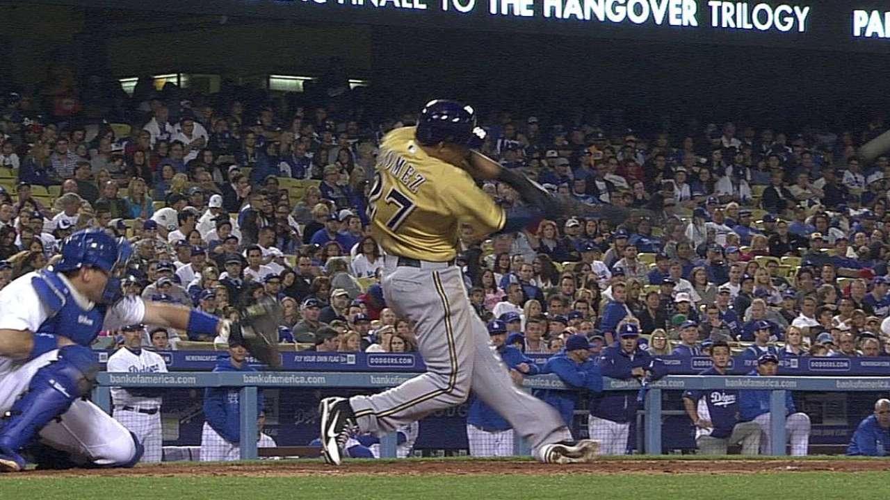 Gómez jonronea, Cerveceros se imponen a Dodgers