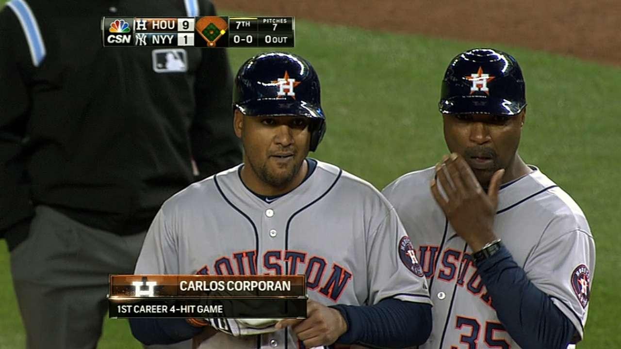 Corporan helps Astros drub Pettitte's Yankees
